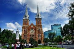 西贡Notre Dame大教堂,在1877年修造 免版税图库摄影
