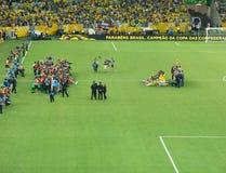 巴西vc西班牙-国际足联联合会杯足球赛2013年 免版税库存图片