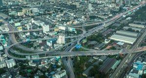 从主要交通明确方式的天视图从曼谷 免版税图库摄影
