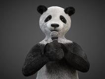要人字符动物熊熊猫唱歌曲话筒 免版税库存照片