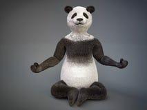 要人字符动物熊熊猫坐了莲花姿势凝思 库存照片
