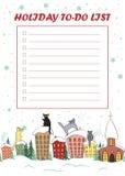要做名单与坐屋顶和看雪的逗人喜爱的猫的棒棒糖框架的圣诞节 皇族释放例证
