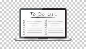 要做名单的商人,与便携式计算机的清单 检查锂 免版税库存照片