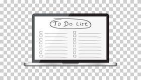 要做名单的商人,与便携式计算机的清单 检查锂 库存照片