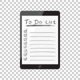 要做名单的商人,与片剂计算机的清单 检查锂 免版税库存照片