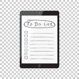 要做名单的商人,与片剂计算机的清单 检查锂 图库摄影