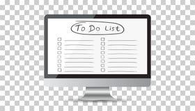 要做名单的商人,与计算机的清单 检查图标列表 免版税库存照片