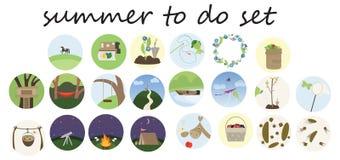 要做名单集合的印刷品动画片乱画平的颜色夏天 向量例证