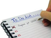 要做名单-为一般数据保护章程GDPR做准备 免版税库存图片