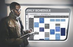 要做名单任命概念的每周日程表 库存照片