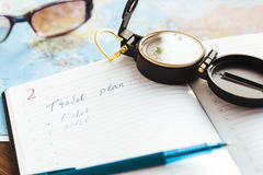 要做旅行的名单的计划者 图库摄影