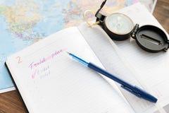 要做旅行的名单的计划者 免版税图库摄影