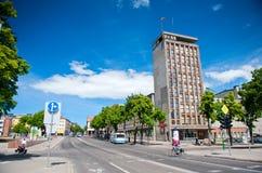 主要克莱佩达市街道- H 女用披巾街道,克莱佩达,立陶宛 库存照片