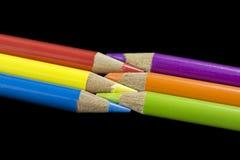 6主要和次要色铅笔 免版税库存图片