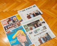 主要国际报纸新闻事业 图库摄影