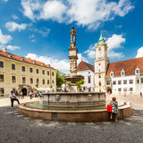 主要城市广场在老镇在布拉索夫,斯洛伐克 免版税库存照片