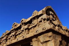主要大厅顶端视图sculpures在马马拉普拉姆五rathas 库存照片