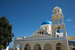 主要教会在Ia,圣托里尼,希腊 图库摄影