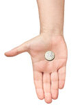 要求欧洲硬币棕榈的手被隔绝的提供 图库摄影