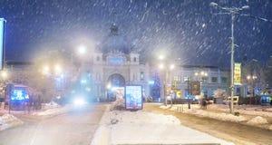 主要火车站在市利沃夫州 免版税库存照片