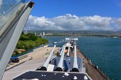 主要电池标记7在USS密苏里开枪 库存照片