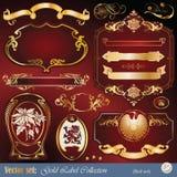 要素构成的金子标记装饰品丝带 向量例证