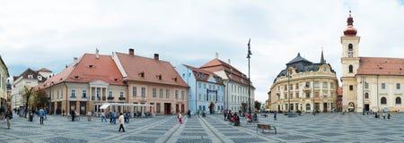 主要罗马尼亚锡比乌广场 免版税库存图片