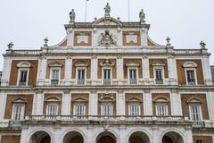 主要门面。阿雷胡埃斯,马德里, Spain.World遗产宫殿坐 库存照片