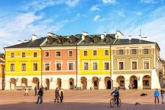 主要集市广场在Zamosc 免版税图库摄影