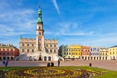 主要集市广场在Zamosc 免版税库存图片