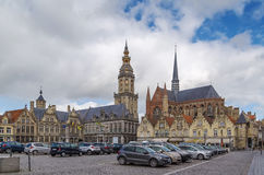主要集市广场,弗尔内,比利时 免版税库存图片