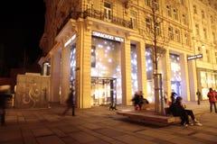 主要购物街道Graben在晚上,维也纳,奥地利 图库摄影