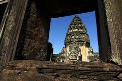 主要prang,历史公园Phimai, phimai,呵叻省,泰国 库存图片