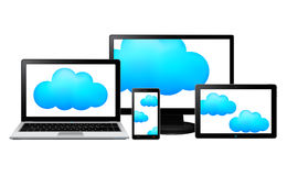显示器、膝上型计算机、与里面云彩的片剂和smartphone 库存照片