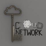 覆盖与金属云彩和钥匙的网络 免版税库存照片