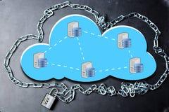 覆盖与链子的计算的安全数据库网络概念并且挂锁在黑暗的背景 免版税库存图片