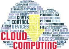 覆盖在云彩的形状的计算的词云彩文本例证 免版税库存图片