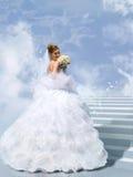 覆盖拼贴画的台阶的新娘 免版税库存照片