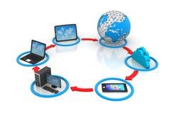 覆盖沟通的计算机计算的概念膝上型计算机被找出的资源 库存照片