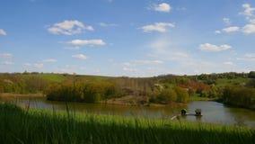 覆盖湖timelapse有水房子的春天领域和森林风景的 影视素材