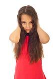 覆盖物不快乐耳朵的女孩 免版税图库摄影