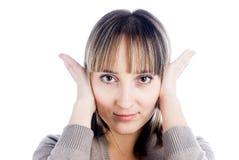 覆盖物耳朵她的妇女 图库摄影