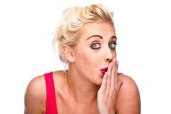 覆盖物表达式她的嘴淘气妇女 免版税库存图片