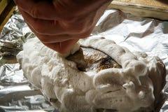 覆盖物dorado用被鞭打的蛋白 库存图片