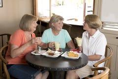 见面为咖啡和茶的小组三个可爱的中年资深成熟妇女女朋友与蛋糕在分享时间的咖啡店 图库摄影