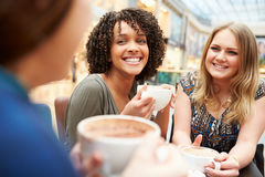 见面在咖啡馆的小组年轻女性朋友 免版税库存图片