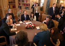 见面在欧洲和亚洲领导ASEM峰会  免版税库存照片