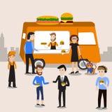 见面在汉堡和热狗食物卡车infograph的人们 免版税库存照片