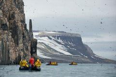 观光在Alkefjellet,斯瓦尔巴特群岛 库存照片