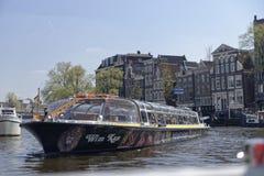 观光的小船,阿姆斯特丹,荷兰 库存照片